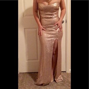 Sequin champagne strapless mermaid dress